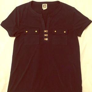 Anne Klein suit work blouse M with gold features